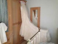 Designer ivory lace wedding dress size 12
