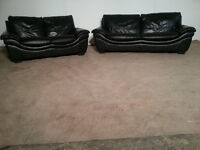 3 & 2 Seater Black Leather Sofa Couch - DELIVERY AVAILABLE