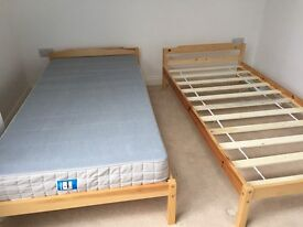 Two Wooden Single Bed Frames with Mattresses (Almost Unused)