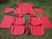 Classic Mini Complete Interior Set of Front & Back Red Leatherette/Vinyl Seat Covers & Cards etc
