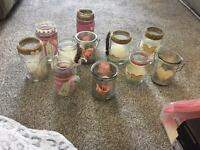 Wedding centre pieces jars tea lights