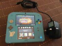 Blue Nintendo 2DS with Pokemon Sun Installed