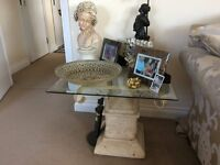Stone TV stand and side table