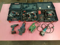 Power tools set Bosch 14.4V; 24V + Makita grinder + Erbauer chopsaw + sander