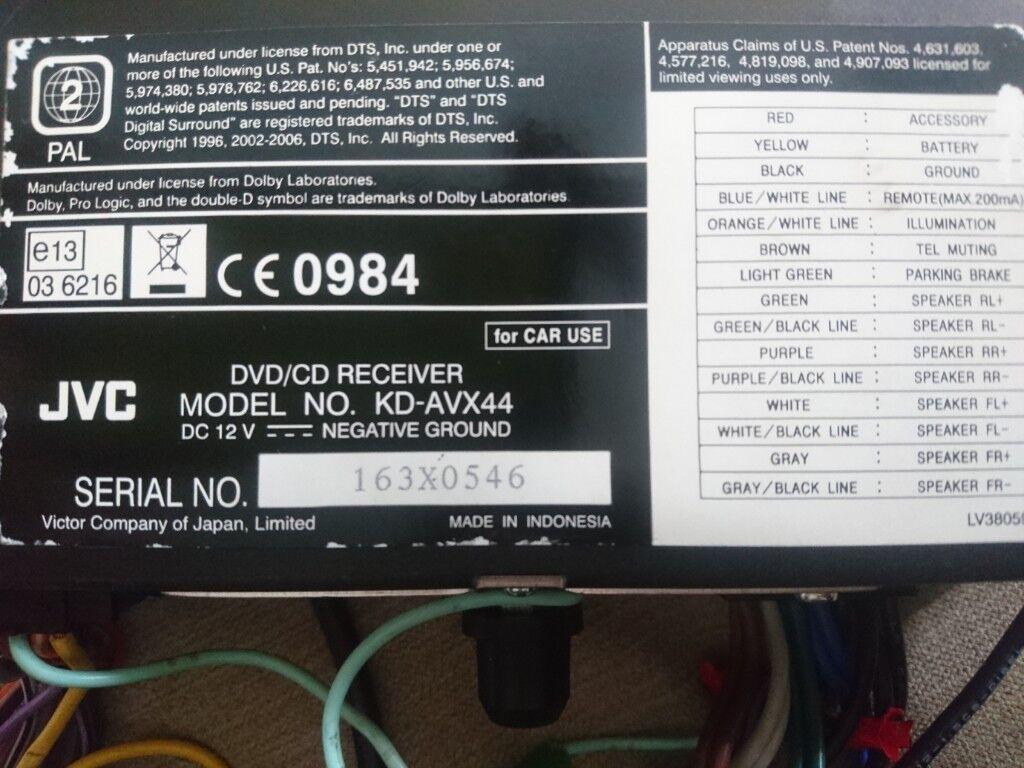 Jvc Model No Kd Avx44 Dvd Player In Mapperley Nottinghamshire 12 Volt Negative Ground Wiring