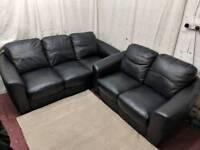 Black leather 3&2 seater sofas