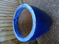 Large Blue Ceramic Outdoor GARDEN POT - (2 Available)