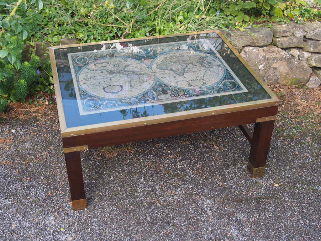Very Vintage & Retro Glass Top Campaign Style Coffee Table with