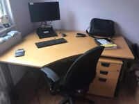 Kinnarps Office Desk, Pedestal and FREE Chair Set
