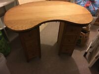 Dressing table, kidney shaped, with curtain rail under and drawers. Vintage, retro, project