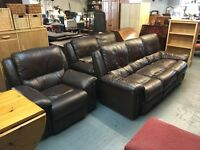 BROWN LEATHER 3 SEATER SOFAS (DELIVERY AVAILABLE)