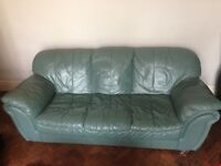 Green/blue leather look sofas 3 + 2 seaters