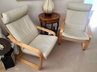2x IKEA Poang chairs with 1x footstool