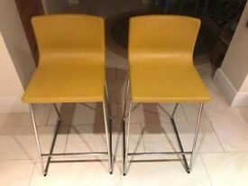 bar stools- great condition- yellow and chrome