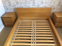 Ikea Malm European Double Bed Oak Veneer 140x200 Mattress Size