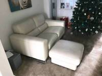 Italian leather 3 seater and two seater cream sofa and foot stool