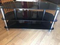 Black glass tv unit