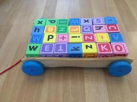 Children's wooden blocks pull-along learning toy alphabet numbers