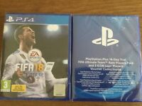Fifa 18 for PS4 brand new & sealed plus Fifa Ultimate Team Rare Pack 14 day free trial