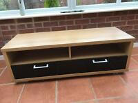 Tv stand cabinet, wide wood black high gloss