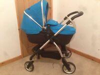 Silvercross Wayfarer Full Travel System including car seat, new born crib and stroller/toddler seat
