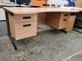 Modern waved desk with built in pedestal