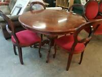 Italian round table and 4 chair set
