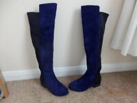 over the knee boots size 4 brand new blue suede