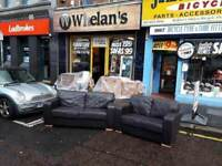 3&2 seater sofa in brown leather £225