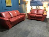 Rose pink leather suite 3 seater sofa and 2 seater sofa
