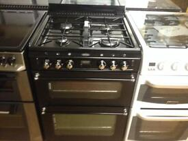 Black gas cooker (double gas oven)