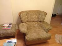 Vintage 3 seater sofa with armchair and footstool!