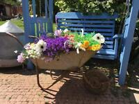 Vintage galvanised wheel barrow garden wedding prop ornament planter pot display