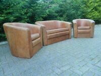 Nubuck Tan 100% Leather 2+1+1 Tub-Suite