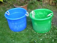 2x large rigid plastic tubs/toyboxes.