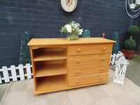 SOLID PINE LARGE CHEST OF DRAWERS WITH 4 DRAWERS AND 3 SHELVES VERY SOLID AND IN VERY GOOD CONDITION