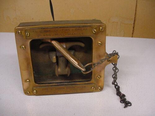 ANTQ HEAVY BRASS 6# AMERICAN LAFRANCE FIRE BREAK GLASS & HANDLE BOX ELMIRA.N Y