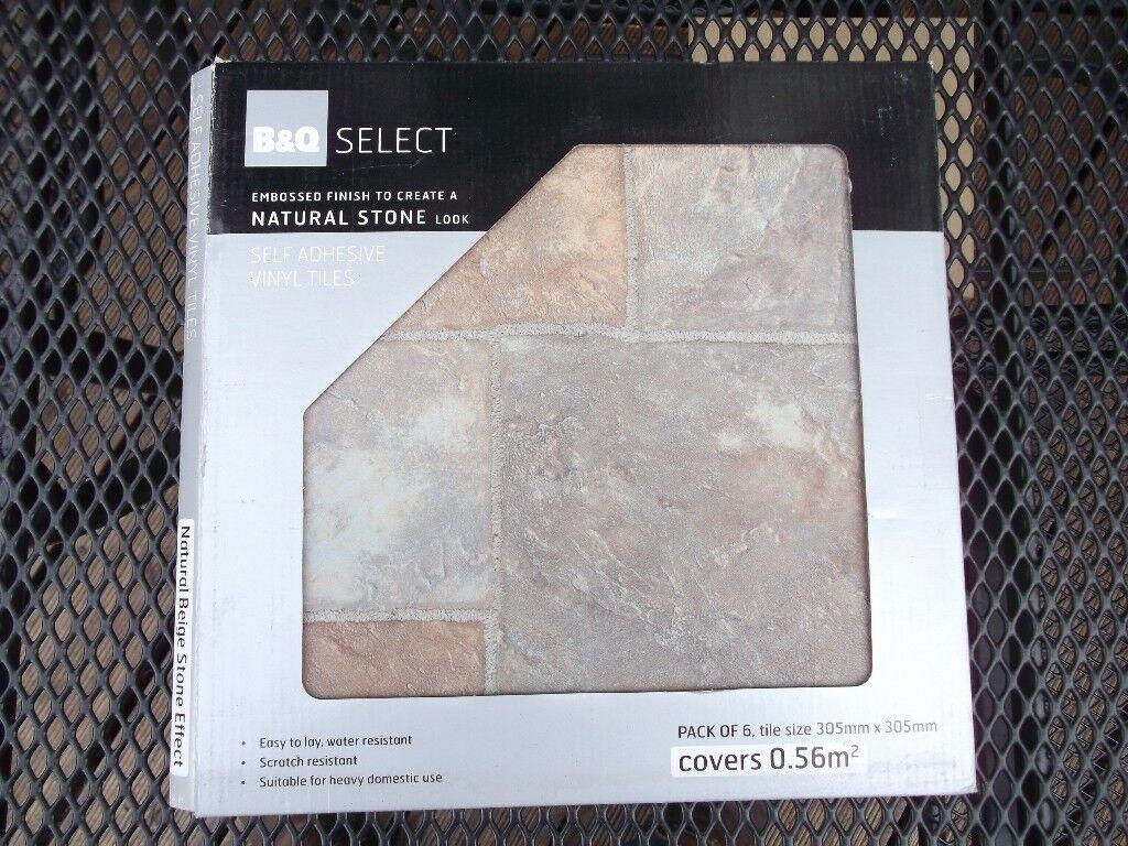 bq natural beige stone effect self adhesive vinyl floor