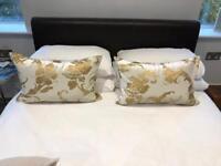 Cream Gold Cushions Pair