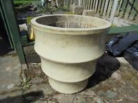 A Large Yellow Ceramic Garden Planter.