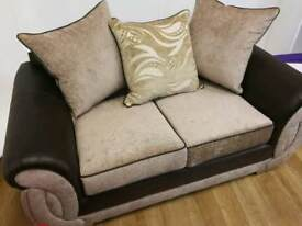 Fabric cream 2 seater sofa with scatterback cushions