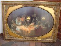 Print 'The Dinner Party' in ornate gold frame.
