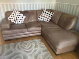 Corner leather sofa and matching chair