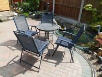 Set of Garden Table and Chairs with Cushions