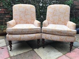 Pair of vintage gold armchairs