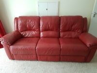 Red leather 3 seater electric recliner sofa