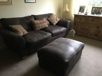 SCS Rio 3 Seater Sofa Brown Faux Leather with Footstall and Scatter Cushions.