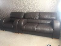 1 and 2 seater brown leather sofa