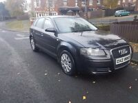 2008 1.9 5 DOOR Audi A3 TDI SE. FULL MOT. HANDS FREE. NEW CLUTCH AND FLYWHEEL FITTED.