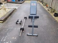 York metal bar & Weights with 2 york dumbbells and a bench .